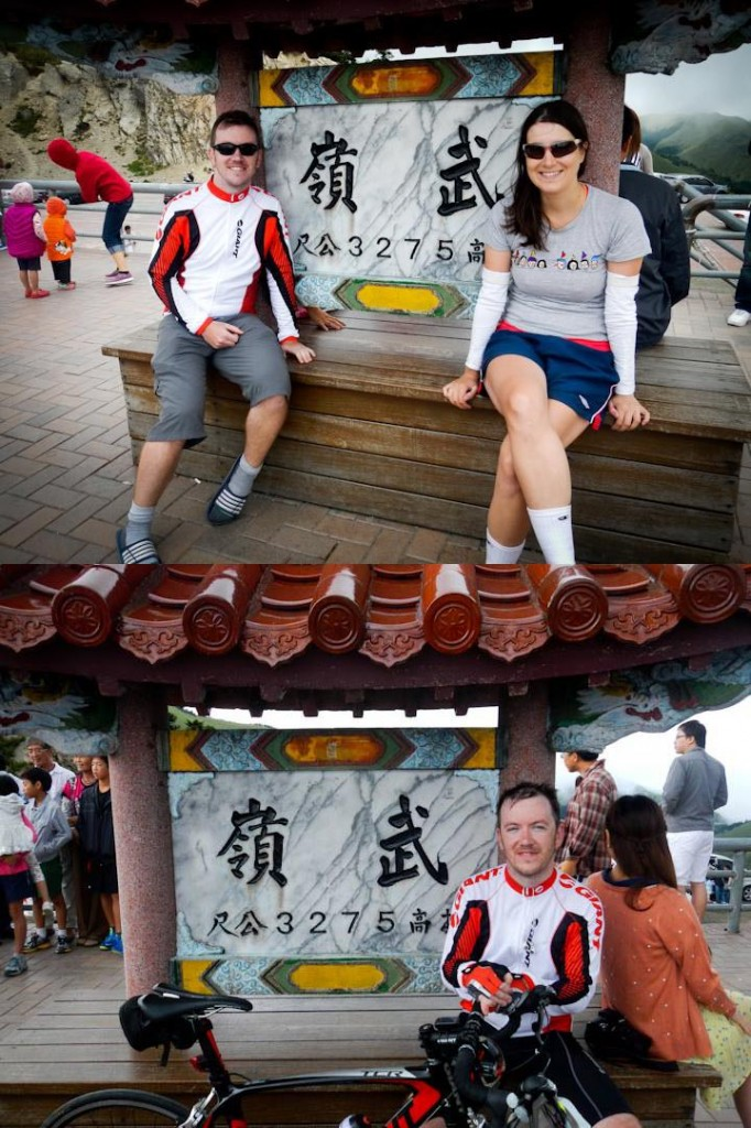 3275 m above sea level at Wuling!  First we scootered (top), then Mike biked (bottom).